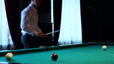 Man Shot Ball In Billiards Stock Video Footage