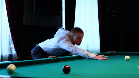 Man Shot Ball In Billiards Stock Video Footage
