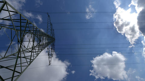 10874 electricity pylon wide time lapse Stock Video Footage