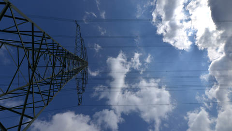 10874 Electricity  Pylon  Wide  Time  Lapse stock footage