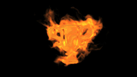 Flame prize cup symbol Animation