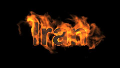 flame Iran word Animation