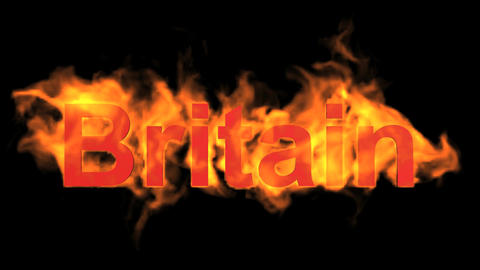 flame Britain word Animation