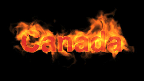 flame Canada word Animation