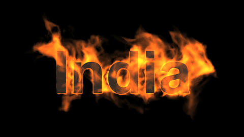 flame India word Animation