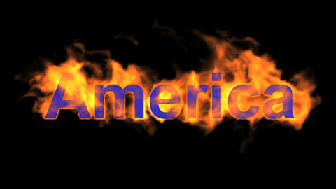 flame America word Animation