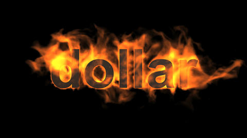fire dollar text Animation