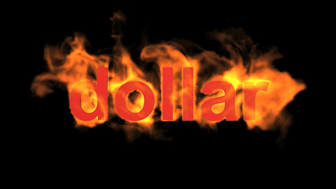 fire dollar word Animation