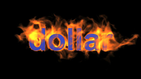 fire dollar word Animation
