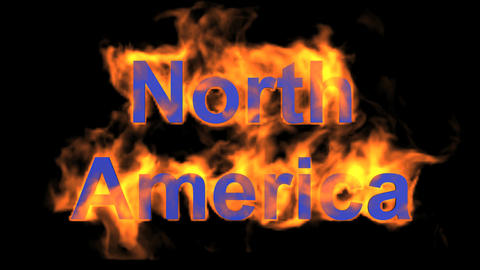 flame North America word Animation