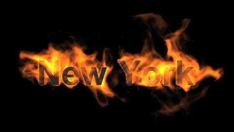 flame New York word Animation