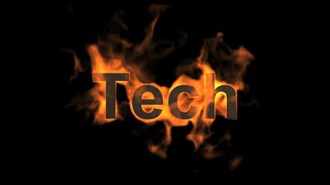 flame tech word Stock Video Footage