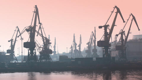 Seaport in the morning. Timelapse Stock Video Footage