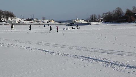 Walking on the frozen sea 10 Stock Video Footage