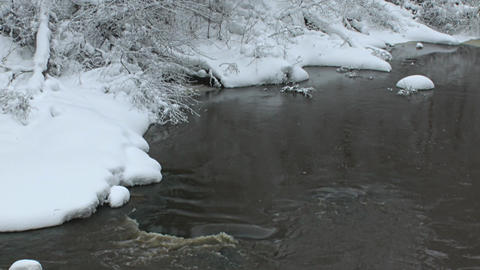 River in winter 6L Stock Video Footage