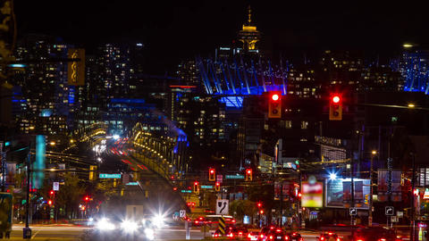 High Impact Busy Traffic of Cambie Bridge going in Stock Video Footage