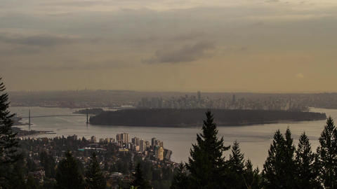 Time Lapse Sunny and Foggy Cloudy Sky of Downtown Stock Video Footage