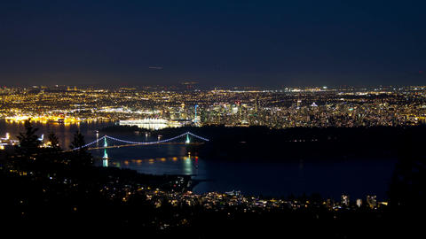 3 shots time lapse City of Vancouver with airplane Stock Video Footage