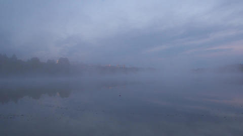 Time Lapse of a Foggy Morning at Deer Lake, Burnab Stock Video Footage