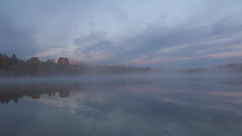 Time Lapse Of A Foggy Morning At Deer Lake, Burnaby, BC stock footage