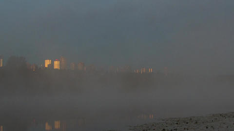 Time Lapse of a Foggy Morning at Deer Lake, Burnab Footage
