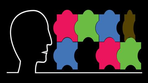 Main idea business intro video with human head, puzzle, pulsing brain. Multicolo Animation