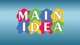 Main idea business intro video with puzzle, pulsing bulb. Multicolored puzzle el Animation