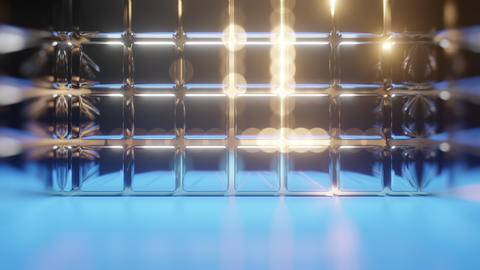 Abstract Backdrop With Reflection Cubes And Flashes Animation