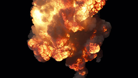 A giant explosion with a lot of smoke. A huge explosion with thick smoke. Explosion with smoke on Animation