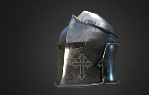 Simple steel helmet game model S 3D Model