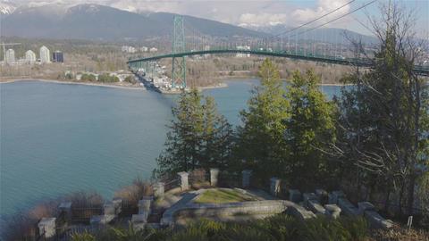 Famous Historic Place, Lions Gate Bridge, in Stanley Park Live Action