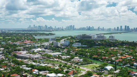 Hyper lapse Miami Beach aerial view green neighborhood area, one-story houses Live Action