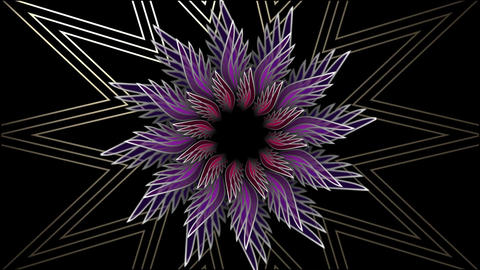 Star set of colored glass rotating on black background and changing color, abstr Animation