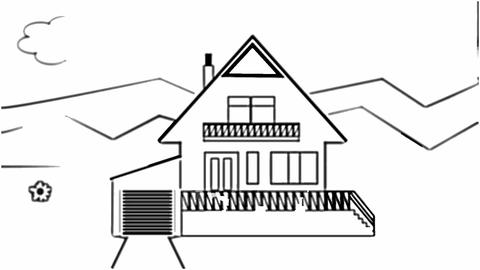 Fast animated pencil sketch of a family house in landscape, black and white desi Animation