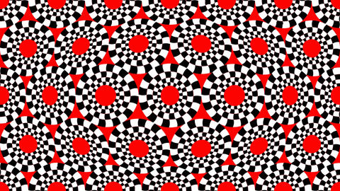 Red, black and white circle patterns moving like breathing area Animation