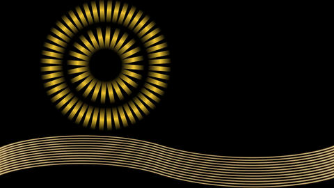 Circle composed of golden shapes rotating on wavy path of movement from left to  Animation