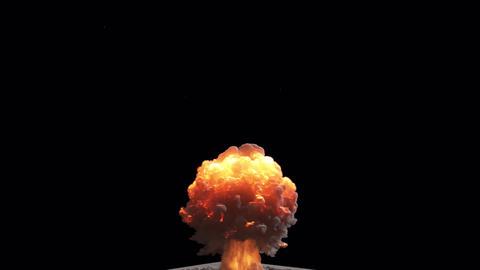 A nuke explosion with a lot of smoke. A huge explosion with thick smoke. Explosion with smoke on Animation