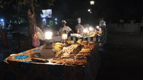 Forodhani Food Stalls, Traditional Zanzibar Food Market, Delicacies, Stone Town Live Action