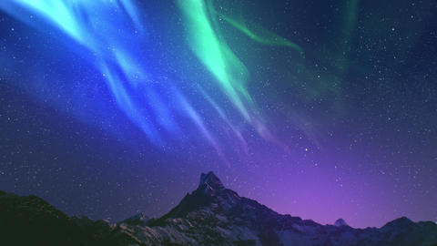 Realistic real time Northern lights Polar Aurora Borealis dancing over mountains Live Action