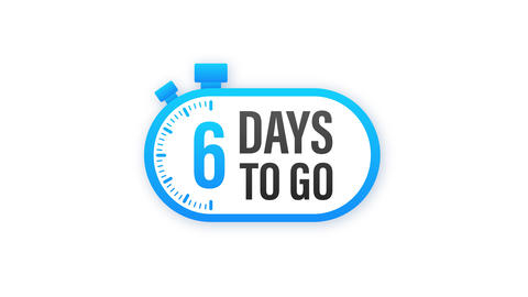 6 Days to go. Countdown timer. Clock icon. Time icon. Count time sale. Motion Animation