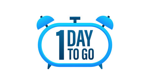 1 Day to go. Countdown timer. Clock icon. Time icon. Count time sale. Motion Animation