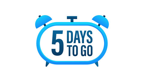 5 Days to go. Countdown timer. Clock icon. Time icon. Count time sale. Motion Animation