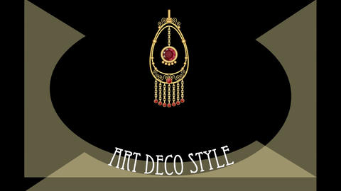Art deco animated banner with antiquarian golden filigree jewel, advertising for Animation