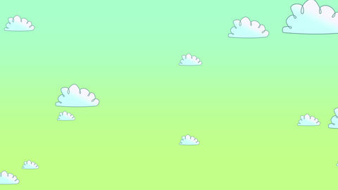 Cartoon animation background with motion clouds on yellow sunset sky, abstract backdrop Animation