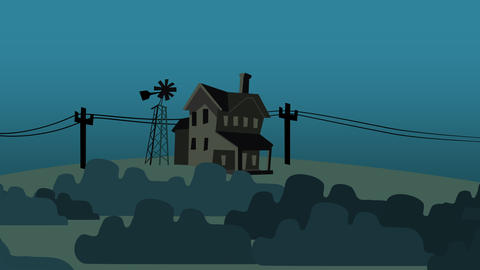 Cartoon animation background with house on farm, abstract backdrop Animation