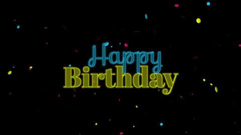 Animated closeup neon Happy Birthday text on black holiday background Animation
