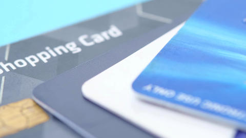 close up of credit cards on wooden background Live Action