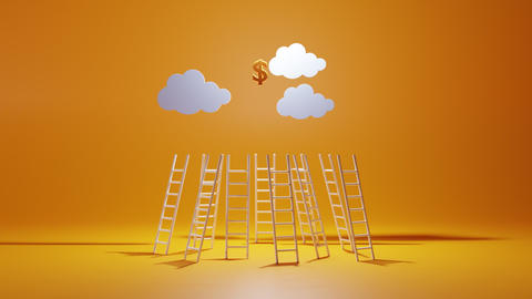 Ladder to financial freedom. Concept of competition and rivalry in achieving Live Action