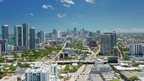 City transportation and highway panorama. Scenic aerial view roads, Miami USA 4K Live Action