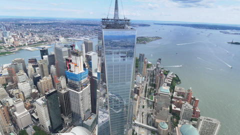 Aerial view of freedom tower nyc city Live Action